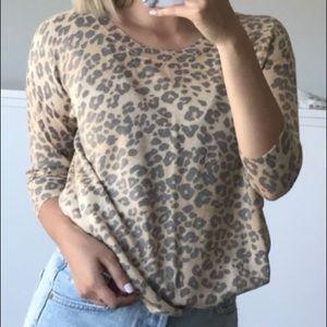 Aritzia silk and cashmere leopard print sweater